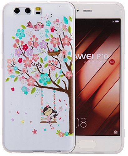 Preisvergleich Produktbild Roreikes Huawei P10 Hülle, Huawei p10 Hülle Case, TPU Silikon Hülle für Huawei p10 Handyhülle Schale Etui Protective Cover Rück mit Ultra slim transparent Geprägte Matte Muster kratzfest Design (5.1Zoll)