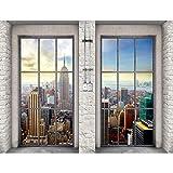 Fototapeten Fenster nach New York 352 x 250 cm - Vlies Wand Tapete Wohnzimmer Schlafzimmer Büro Flur Dekoration Wandbilder XXL Moderne Wanddeko - 100% MADE IN GERMANY - 9345011b