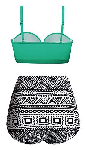Angerella Damen Vintage Geometrischer Druck Unterseite Hohe Taille Badeanzug Bikini Set -