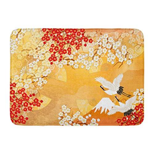 artyly rutschfeste Fußmatte für drinnen und draußen, japanischer Kimono von Japan, mit asiatischem Kran-Elebration, langlebig, 60 x 40 cm (Plüsch-kimono)