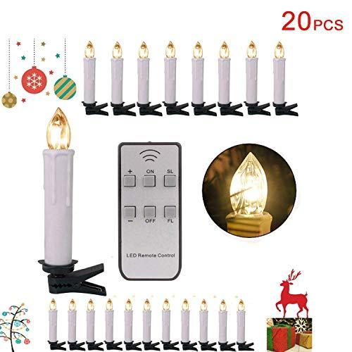 Forever Speed 20/30/40/50/60er LED Lichterkette Kabellos Weihnachtskerzen Christbaumschmuck Weihnachtsbaumbeleuchtung 20*weisse Hülle