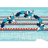 Vlies Fototapete PREMIUM PLUS Wand Foto Tapete Wand Bild Vliestapete - Kindertapete Cartoon Comic Wasserspringen Disney Mickey Mouse Minnie - no. 313, Größe: 368 x 254 cm Blueback Papier