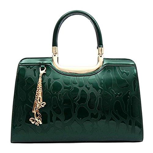 SANSJI Damen Patent Satchel mit Metallrahmen Taschen Frauen heißer Verkauf Fashion Designer Tote Handtaschen (Patent Handtasche Satchel)