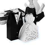 QUMAO 50 Paar (100 STK.) Braut & Bräutigam-Muster Bonboniere (mit 50 SeidenBände) Hochzeit Katonage Gastgeschenk Box Pralinenschachtel Geschenkboxen Geschenkverpackung tüten für...