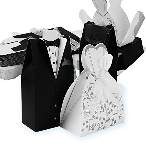 Qumao 50* sposo 50* sposa scatoline portaconfetti scatole carta bomboniere segnaposti per matrimonio nozze festa anniversario (50 paia)