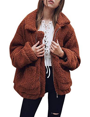 Soteer Damen Teddyfleecejacke Casual Wintermantel Revers Faux Wolle Warm Outwear Plüsch Winterjacke Coat Winterparka Reißverschluss Mc Jacke