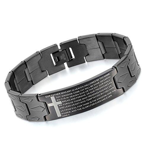 Oidea bracciale braccialetto per uomo braccialetto catena in acciaio inox croce bibbia(inglese) nero
