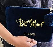 Personalised Clutch bag, Personalised make up bag, Velvet Bag