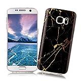 Coque Samsung Galaxy S7 XiaoXiMi Etui en Marbre Texture Housse de Protection Soft TPU Silicone Case Cover Coque Flexible Lisse Etui Ultra Mince Poids Léger Housse Anti Rayure Anti Choc pour Samsung Galaxy S7 - Fissure Dorée