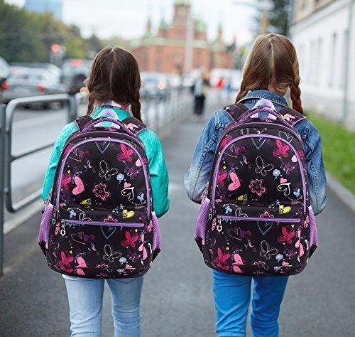 Termichy Mode Kinder Teenager Mädchen Schulrucksack Leichte Schule Tasche Blumen Floral Studenten Rucksack Lässig Daypack Reise Backpack für Schüler Outdoor Freizeit-Lila - 6