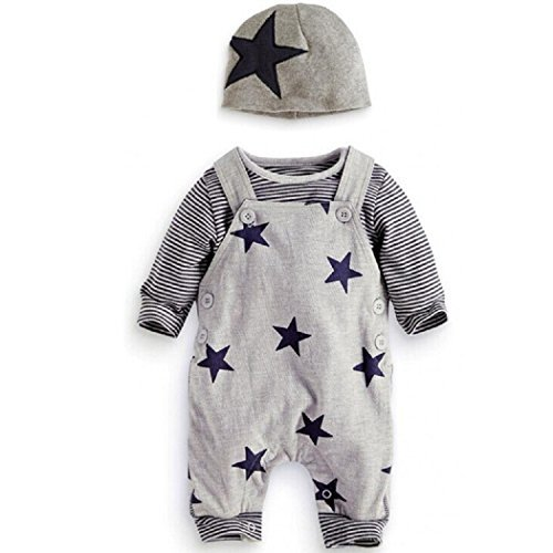 maruxiong Newborn Baby Boy Strampler Star Bekleidungssets Hosen-Tops-Hut Niedlich Overall Romper Outfit Bodysuit (3-6, grau) (Baby Jungen Kleidung 0-3 Monate)