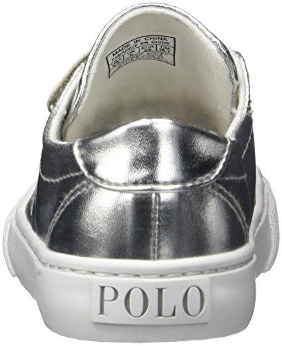 Ralph Lauren - Slater Ez, Pantofole Bambina Silber (Silver Metallic W/ white pp)
