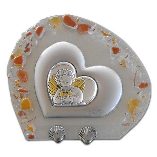 Icona cuore con graniglia finitura rame cm.10x9 con applicazione in argento angelo