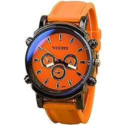 Big Dials Wrist Watch - Weijieer Silicone Band Big Round Face Big Dials Men's Boys Sport Wrist Watch Quartz Watch, Orange