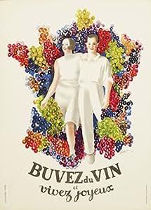 """Millésime. Bières, Vins et Spiritueux """" BUVEZ DU VIN ET VIVEZ JOYEUX par LEONETTO CAPPIELLO """" Environ 1933 Sur Format A3 Papiers Brillants de 250g. Affiches de Reproduction"""