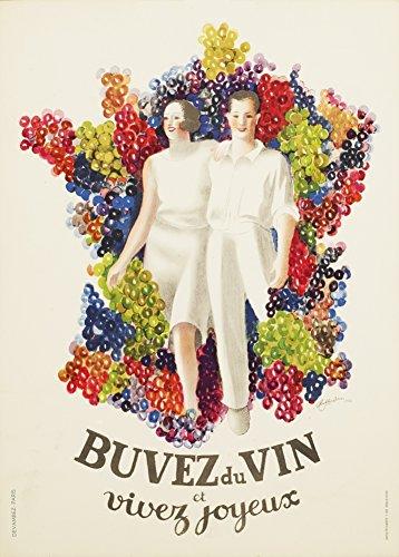 Spirituosen-kunst-plakat (Vintage Beers, Weine und Spirituosen Buvez du Vin Vivez ET Joyeux, Frankreich C1933von Leonetto Cappiello 250gsm, Hochglanz, A3, vervielfältigtes Poster)