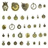 Qinlee Steampunk Anhänger DIY Handwerk Vintage Schmuck Basteln Teile Material Armbänder Ohrringe Zubehör Zufällige Stil (Uhren/Engelsflügel / Stern Mond) (Gold)