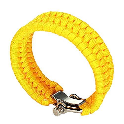 Imagen de trifycore pulsera pulsera de la supervivencia de paracord ajustable de acero inoxidable grillete paracaídas para ir de excursión acampar al aire libre caza  amarillo