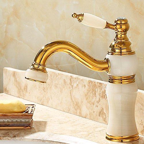 Gyps Faucet Waschtisch-Einhebelmischer Waschtischarmatur BadarmaturDie Gold-Kupfer natürliche Jade Zapfhähne antiken Tisch Becken von Kalten und Warmen vergoldete Marmor Waschbecken Wasserhahn Rot -