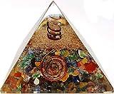 Kit pyramide 7 chakras en orgonite, comprend 4 points d'énergie en cristal de quartz / protection EMF pour méditation, yoga, générateur d'énergie