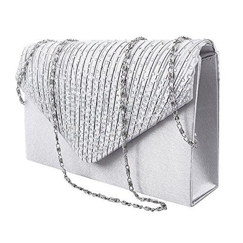 Pochette Donna Elegante da Cerimonia Borsa Donna Tracolla con Catena Piccola Strass Diamante Clutch Borsetta (Argento)