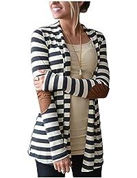 Vnice Damen Striped Langarmshirt Strickjacke Kimono Cardigan Cover Up Patchwork Outwear (Weiß)