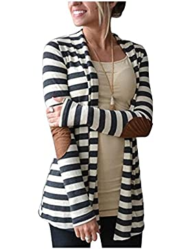 Vnice Damen Striped Langarmshirt Strickjacke Kimono Cardigan Cover Up Patchwork Outwear (Weiß)