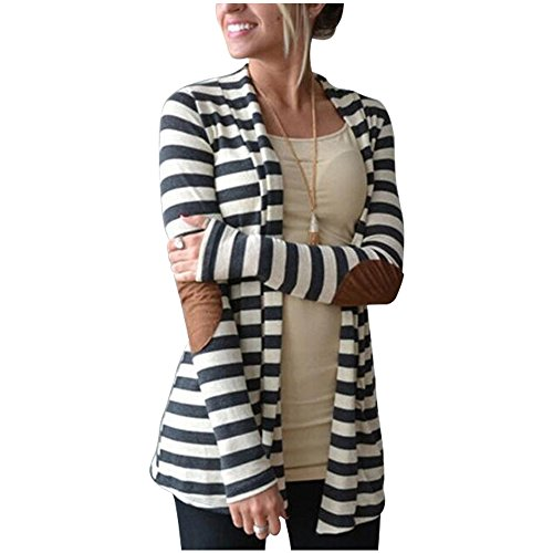 Vnice Damen Striped Langarmshirt Strickjacke Kimono Cardigan Cover Up Patchwork Outwear (Offen Zurück Cardigan)