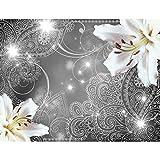 Fototapete Lilien Blumen Grau 396 x 280 cm Vlies Wand Tapete Wohnzimmer Schlafzimmer Büro Flur Dekoration Wandbilder XXL Moderne Wanddeko - 100% MADE IN GERMANY - Runa Tapeten 9197012b
