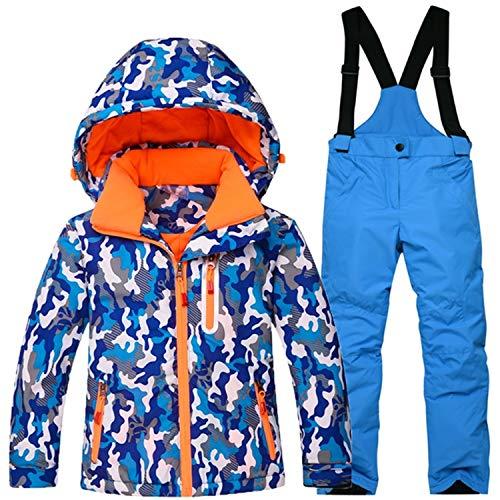 Keamallltd Jungen Mädchen Winter Snowboard Ski Jacke Snow Lätzchen Schneeanzug Set Wasserdicht 1000 Mm Kinder Ski Snowboard Anzüge Camo Printed 1 S
