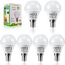 Liqoo® 6 x E14 7W Bombilla LED Lámpara Aluminio y Plástico Blanco Cálido 3000K AC 220-240V Ángulo de haz 270° 550 Lumen No Dimmable Sustituye la lámpara Halógena de 45W