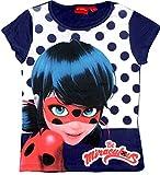 Miraculous T-shirt fille Ladybug manches courtes bleu nuit pois - gris nuit, 4 años