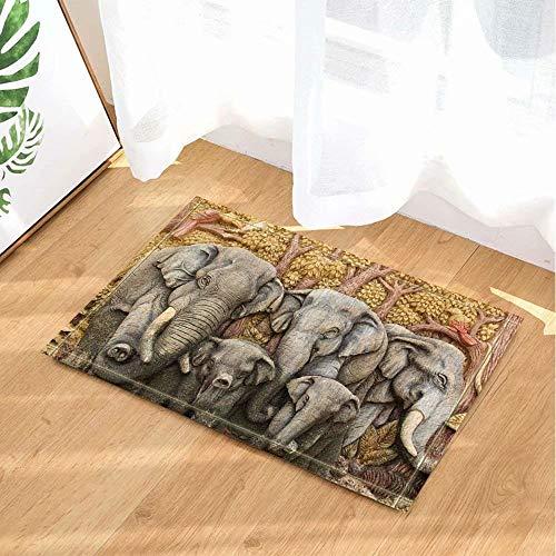 Animales decorativos elefantes de la familia maderas Alfombra de baño puerta antideslizante...