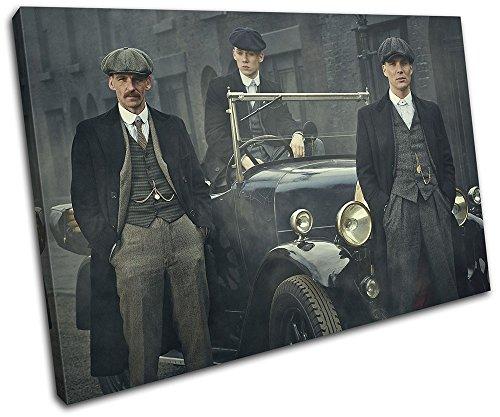 Bold Bloc Design - Peaky Blinders Television Show TV 75x50cm SINGLE Boite de tirage d'Art toile encadree photo Wall Hanging - a la main dans le UK - encadre et pret a accrocher - Canvas Art Print 13-2495(00B)-SG32-LO-C