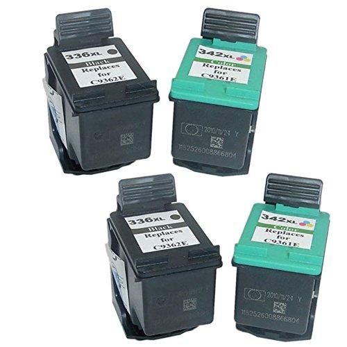 Cartuccia d'inchiostro Generico rigenerata in sostituzione di HP 336XL HP342XL (2x Nero, 2x Farbe, 4 (Rigenerata Sostituzione)