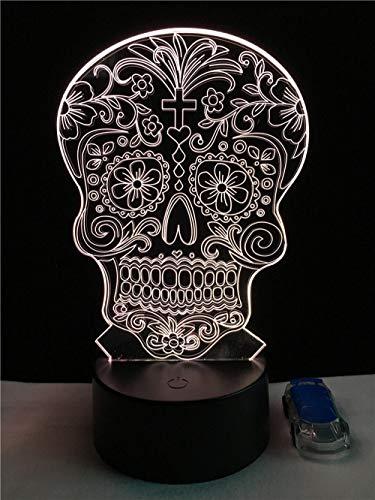 er Kreative Künstlerische 3D Visualisierung Blume Schädel Led Lampe Gekreuzte Knochen Hologramm Kopf Nachtlicht Halloween Dekor Spielzeug Rgb ()