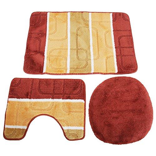 Textiles Universels Ensemble de Tapis de Bain, Contour de lavabo et Couverture d'abattant WC (50cm x 80cm) (Orange/Rouille)