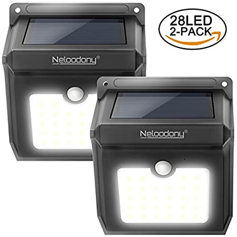 Lumière avec capteur de mouvement solaire sans fil 100% amélioré nouvelles lumières de sécurité waterproof rechargeables avec 28 LED, lumière puissante et sûre pour l