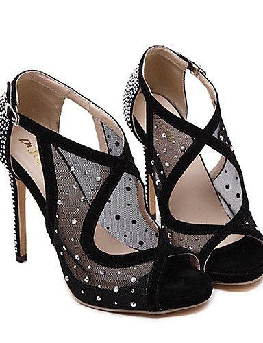 LFNLYX Chaussures Femme-Habillé-Noir-Talon Aiguille-Talons / Bout Ouvert / A Plateau-Sandales-Tulle Black