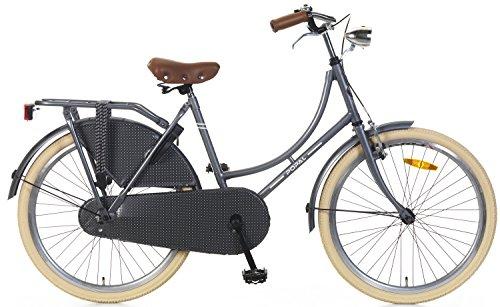 24 Zoll Popal Omafiets OM24 Mädchen Holland Fahrrad, Farbe:grau