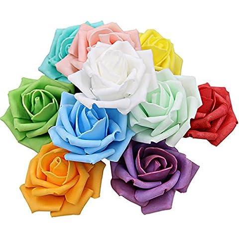 Paleo 50pcs 7.5cm espuma de simulación de rosa artificial de decoración del hogar del banquete de boda bola ramo de flores