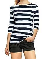 Allegra K Damen Halbelange Ärmel Kontrastfarbe Streifen T-shirt