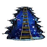 no brand 3D Sticker Mural Cosmic Planet Duplex Pont Autocollant De Plancher Creative...