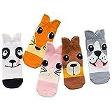 Yututu garçons filles Coton fantaisie Chien Crew Chaussettes sans couture Lot de 5 L chien
