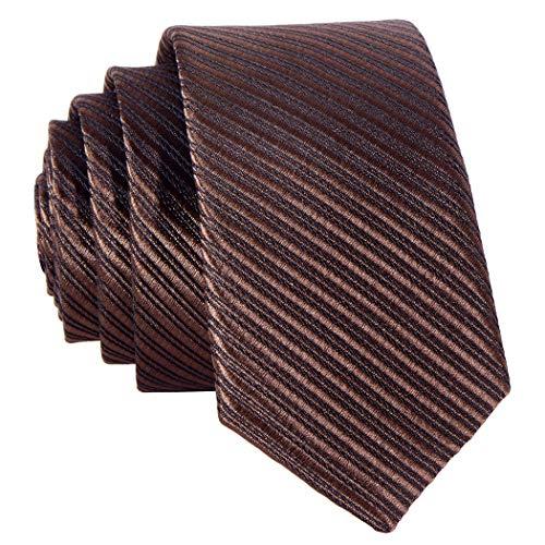 Slim-krawatte (Schmale braun dunkelbraun gestreifte Krawatte 5 cm - von Hand gefertigt)