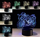 W-ONLY YOU-J Novelty Gift Small Night Light Motorcycle 3D Lights Colorful Remote Control LED Lights Creative Home Decor Christmas Gift