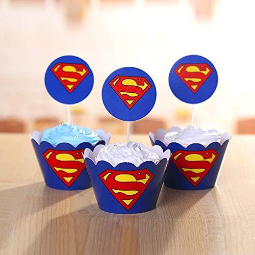 518iFe8bELL - 96 piezas de superhéroes Cupcake Envoltorios Toppers Decoraciones de mesa para pasteles Artículos de fiesta 4 estilos-Spiderman Superman Batman Capitán Fiesta de cumpleaños Favores de decoración