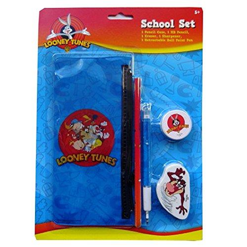 looney-tunes-schule-briefpapier-set-1-federmappchen-bleistift-1-ausziehbarer-stift-radiergummi-spitz