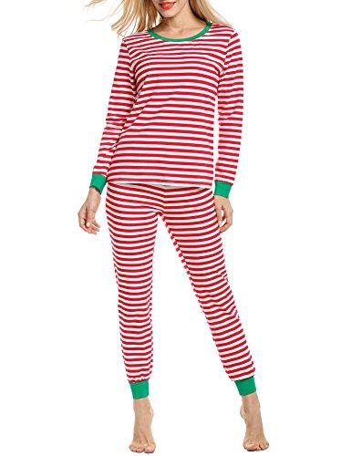 Avidlove Schlafanzüge Sets Winter Streifen Damen Nachtwäsche Zweiteiliger Schlaf-Set Drucken Stretch Pyjamas Lange Hülse Weihnachten Mit Tasche (Sleepshirt Stretch-baumwolle)