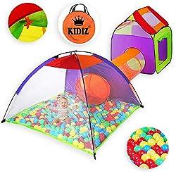 KIDIZ® Spielzelt Spielhaus Babyzelt 200 Bälle Bällebad Kinderzelt | Ideal für Zuhause & im Garten | Tasche | Tunnel (XXL)